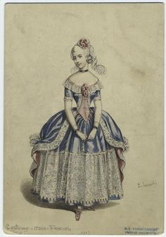 1845 Fancy Dress Costume of a 1700's period French style.  - from digitalgallery.nypl.org