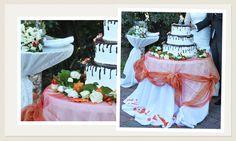 Matrimonio Estivo all'aperto - Decorazione Floreale Tavola Torta Nuziale #matrimonio #arancione #romasposa #fioriroma www.laflorealedistefania.it