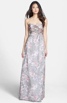 Love the colors on this gown. Amsale 'Amore' Print Silk Chiffon Gown #Evening #Dresses #Gowns #Fashion #Style #NYE2014