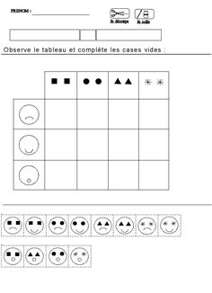 tableau double entrees pour maternelle moyenne section grande section Emotions Preschool, Emotions Activities, Preschool Worksheets, Math Resources, Preschool Activities, Montessori Math, Homeschool Math, Maternelle Grande Section, Coding For Kids