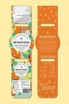 Revolicious - Smoothie Branding & Packaging Design by Mystery Branding And Packaging, Organic Packaging, Packaging Stickers, Food Branding, Cookie Packaging, Food Packaging Design, Bottle Packaging, Print Packaging, Juice Packaging