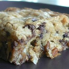 Chewy Chocolate chip Coconut Bars -  I baked mine for 37 minutes (not 20-25, as suggested) and they were perfectly golden on top and chewy moist in the center.  Easy & Delish!