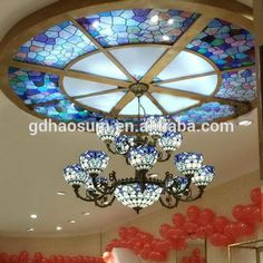 tiffany style stained glass ceiling dome with chandelier
