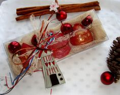 Christmas Gift Idea, Luxury Red Festive Royalty Soaps Set, New Year Decorative Good Luck Charm, Holiday Home Decor, Holiday Hostess Gift