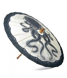 Are you sun shy, darling? A fearsome black and cream Kraken paneled parasol to the rescue! Crafted from non-oiled paper...Price - $30.00-VPVWzvTy