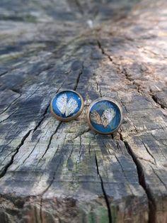 Earring screw back, Stud earrings, Dark blue resin earrings, For woman and girl, Beautiful gift, Wings theme, 8mm