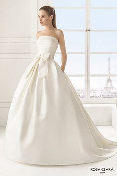 rosa clara two spring 2016 strapless straight across pleated bodice pocketd silky a line ball gown wedding dress royal train (encanto) mv