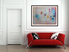 Abstract Large Painting with red sofa. Price of painting is $399 FREE shipping (world wide) by AjdinovicStudio