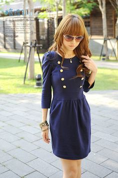 3/4 sleeved navy dress with gold buttons