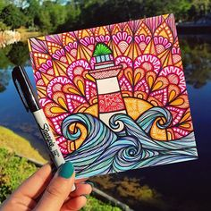 it took exactly 114 steps to get to the top of this lighthouse yesterday✨ Dibujos Zentangle Art, Zentangle Drawings, Mandala Drawing, Art Drawings Sketches, Cute Drawings, Flower Drawings, Zentangles, Drawing Art, Sharpie Drawings