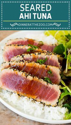 Lobster Recipes, Tuna Recipes, Seafood Recipes, Chicken Recipes, Seafood Dishes, Salad Recipes, Cooking Recipes, Seared Ahi Tuna Recipe, Bacon Wrapped Scallops