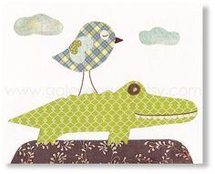diy nursery art  - love the crocodile