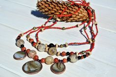Long necklace RODOVID #DzvinkaDraft by DzvinkaDraft on Etsy