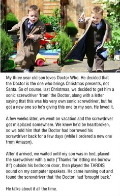 """THIS IS EXCELLENT! I love this whole thing so much. I had a hard time not putting it in my """"for the future"""" board. The Doctor is SO much more believable than Santa!"""