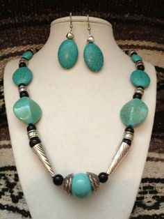 Necklace Set / Rodeo Style/ Turquoise/Silver/  by ankesuniquetreasures #Jewelry #Deal #Fashion