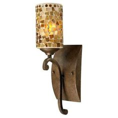 Dale Tiffany Knighton 1-Light Antique Golden Bronze Mosaic Art Glass Wall Sconce-STW13015 at The Home Depot