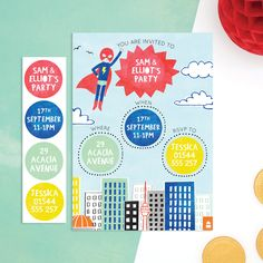 personalised superhero invitations with sticker activity from cottontwist.co.uk