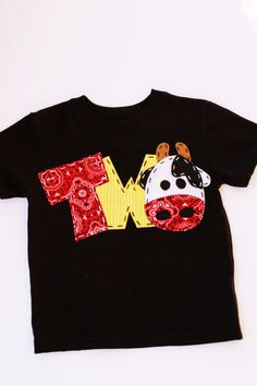 barnyard birthday shirt, two, cow, 2nd,  t shirt, barn yard, farm theme, boy black shirt on Etsy, $24.99