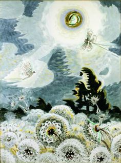 Charles Burchfield / Dandelion Seed Heads and the Moon / / Watercolor, gouache, charcoal, and graffito on lightly textured white wove paper faced on ¼-inch thick laminated gray cardboard Art Brut, Whitney Museum, Nature Scenes, Plein Air, American Artists, Illustration Art, Fine Art, Abstract, Dandelions