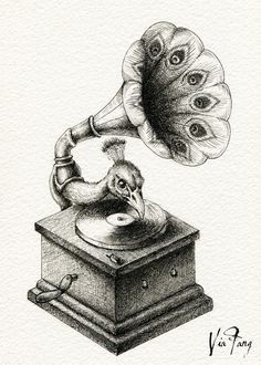 Now, DJ Peacock will play us a song ♪ Copyright © 2015 [Peacock & Mad Rose]. All Rights Reserved. Family Illustration, Illustration Art, Metamorphosis Art, Art Sketches, Art Drawings, Surrealism Drawing, Background Drawing, Realistic Drawings, Ink Illustrations
