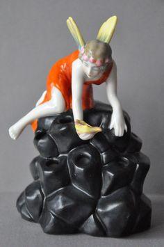 Art Deco hatpin Holder Flower Frog Porcelain Figurine Half Doll Rel