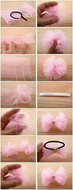 Discover thousands of images about headband, diy accessories for girls Diy Hair Bows, Diy Bow, Tulle Hair Bows, Hair Tie, Diy Headband, Baby Headbands, Flower Headbands, Ribbon Crafts, Ribbon Bows