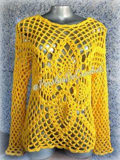 * Pérolas do Crochet: Blusa em croche com BARROCO MAXCOLOR da Círculo S....