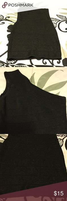 Sexy short bodycon dress Black and shimmery one shoulder dress. Forever 21 Dresses One Shoulder