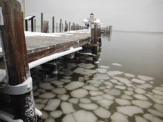 Lots of ice surrounding the docks on the downtown Manteo waterfront. :: January 29, 2014 :: #snOBX
