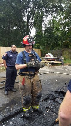 He is a firefighter, he saved this little guy #animalrescue #puppy #firefighter #amazing