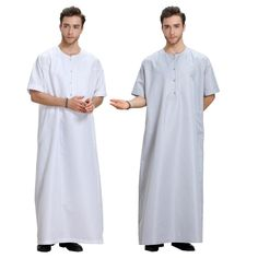 e5c2e05b53fd Fashion Muslim Clothing Men Robes Arab Dubai Indian Middle East Islamic Man  Loose Thobe Kaftan Half-Sleeve Abaya For Men