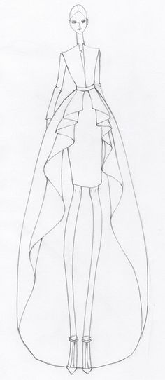 Fashion illustration - cascading hem dress, fashion design sketch // Issa Grimm