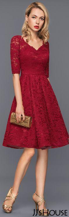 A-Line/Princess V-neck Knee-Length Lace Cocktail Dress#JJsHouse #Cocktail dresses