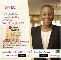 SWEC Business accelerator competition deadline almost here   The SME Boutique Womens Exclusive Club which involves Biola Alabi Tara Fela Durotoye Stephanie Obi Chika Uwazie Co-Creation Hub amongst others has fixed August 6 2016 as its application deadline for the Business accelerator competition - Scale UP!  The event strictly for female entrepreneurs living in Lagos has registered over 100 women for the competition- Scale up! but is still ready to take in more participants to get a taste of…