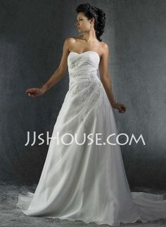Wedding Dresses - $230.99 - A-Line/Princess Sweetheart Chapel Train Taffeta  Organza Wedding Dresses With Ruffle (002000347) http://jjshouse.com/A-line-Princess-Sweetheart-Chapel-Train-Taffeta--Organza-Wedding-Dresses-With-Ruffle-002000347-g347