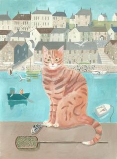 ARTFINDER: Ginger by the Sea by Mary Stubberfield - A lovely ginger tom cat by the harbour with fishing boats and cottages. He is very pleased with himself after catching a fish. Mounted on white board.