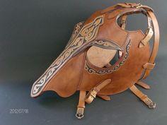 Leather armor by Zoltán Koszta, via Behance Horse Mask, Horse Armor, War Horses, Breyer Horses, Leather Armor, Leather Tooling, Battle Dress, Horse Bits, Headstall