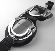 8b55c475fc Halcyon Mark 49 Black Leather Motorcycle and Aviator Goggles