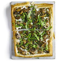 Mushroom, ricotta & rocket tart. This puff pastry slice requires minimum fuss. Use Italian cheese as a simple base and top with garlic mushrooms and salad leaves