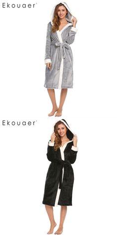 eed78b105c Hooded long kimono robes sleepwear women soft plush long sleeve bathrobe  sleep robe dressing gown female