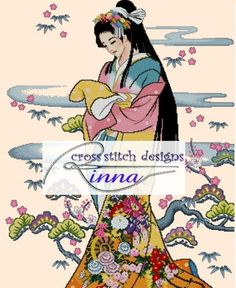 Japanese Geisha  Summer Colours by CrossStitchRinna on Etsy, $20.00