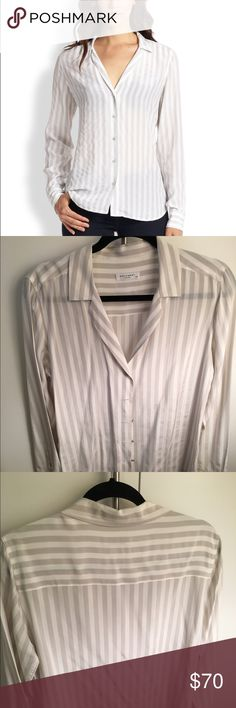 Equipment adalyn grey and white striped shirt. Worn once, size L, just needed to be pressed, equipment silk button down. Equipment Tops Button Down Shirts