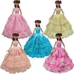 1 cái chất lượng nửa lace Wedding Ăn Mặc Công Chúa Gown Ăn Mặc Quần Áo Gown Đối Với Barbie búp bê ăn mặc cho cô gái món quà
