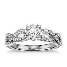Infinity Twist Micropavé Diamond Engagement Ring in 18K White Gold
