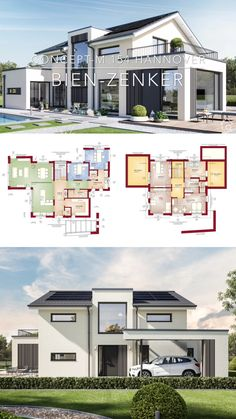 Build a modern prefabricated house with a pitched roof – house ideas design inside & outside with floor plan - Haus Ideen House Roof Design, Simple House Design, Bungalow House Design, Modern House Design, Home Design, Layouts Casa, House Layouts, House Construction Plan, Prefabricated Houses