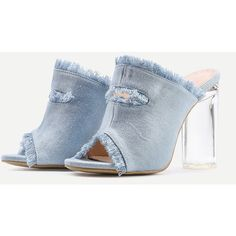 Raw Trim Denim Block Heeled Sandals ($44) ❤ liked on Polyvore featuring shoes, sandals, denim shoes, denim sandals, block heel shoes, block heel sandals and denim footwear