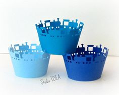 Mixed Blue Train Cupcake Wrappers Standard Size by StudioIdea