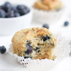 Gluten Free Blueberry Muffins. Just 7-Ingredients, refined sugar-free, dairy-free, and low-sugar. It's heaven in muffin form.