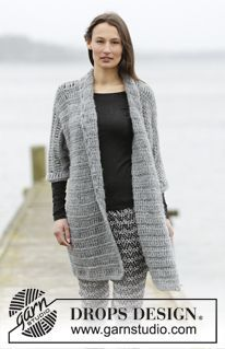 "Loch Ness - Crochet DROPS jacket with trebles and single crochet in ""Cloud"". Size: S - XXXL. - Free pattern by DROPS Design"