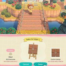 Animal Crossing Funny, Animal Crossing Wild World, Animal Crossing Guide, Animal Crossing Qr Codes Clothes, Path Design, Bridge Design, Acnl Pfade, Wood Path, Motif Tropical